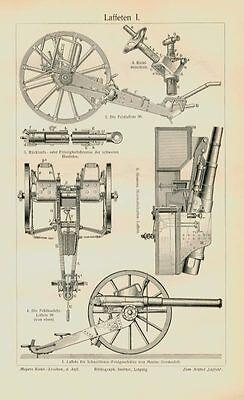 Laffeten Kanone Mechanik Bau Technik Originale 100 J. alt Uxz 16x25cm + Text M6