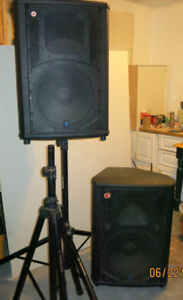 Pair of Yorkville NX300P Speakers and Stands