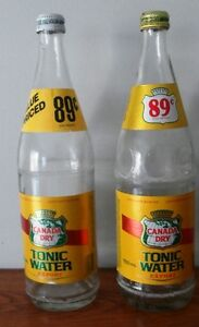 2- vintage Canada Dry Tonic Water 750 ml bottles /foil labels