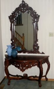 Vintage Baroque Rococo Console Foyer Table & Mirror ROSEWOOD