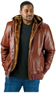 Excelled Men's Reversible Leather Bomber Jacket Cognac XL, New
