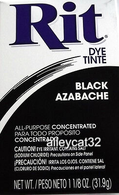 Rit Fabric Dye Powder - BLACK - 1 1/8 oz Tie Dyeing Fabrics, Basketry