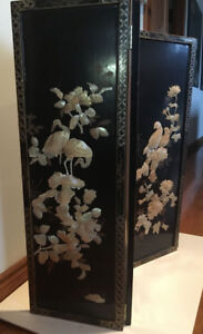 4  Asian Mother of Pearl Black Lacquer Wall Panels Birds Design