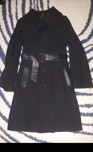 Mackage wool long jacket with leather belt