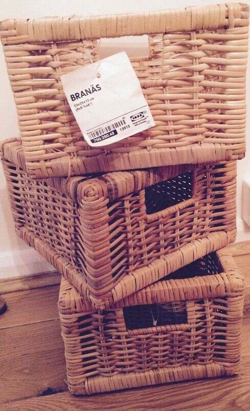 IKEA Branas X3 Small Rattan Basket Storage Box