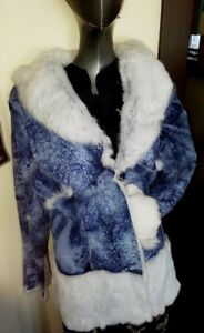 Authentic Rabbit Fur Blue Reversible Jacket - size large/xl