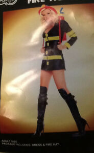 HOT  FIREFIGHTER Costume: mini dress & hat  (probably a ladies S