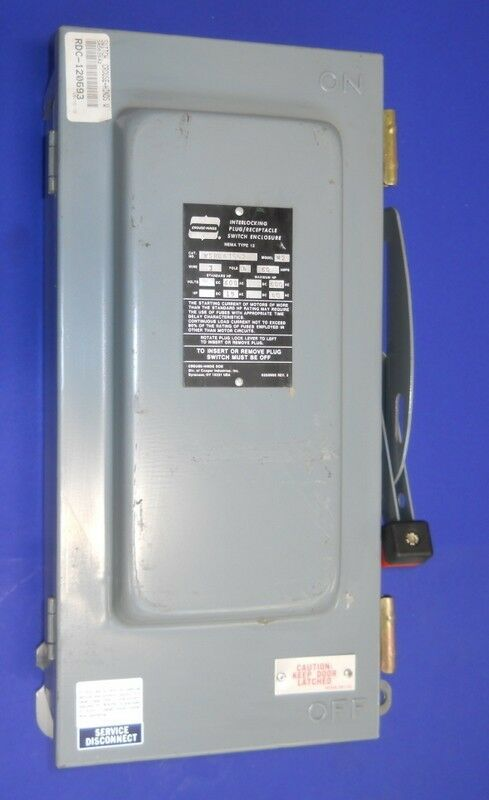 CROUSE-HINDS NON-FUSIBLE DISCONNECT 60A WSRD63542 *PZF*
