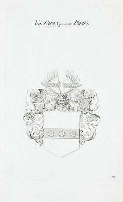 1870 Wappen von Papen Kupferstich Tyroff