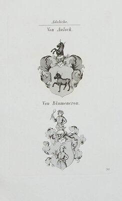 1848 Wappen von Aulock von Blumencron 2 Kupferstiche Tyroff