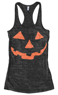 Orange Halloween Pumpkin Face Women's Burnout Racerback Tank Top - Pumpkin Face Halloween Costume