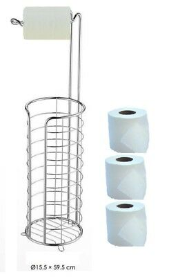 FREE STANDING TOILET ROLL HOLDER WITH EXTRA ROLLS STORAGE SHINY CHROME BATHROOM