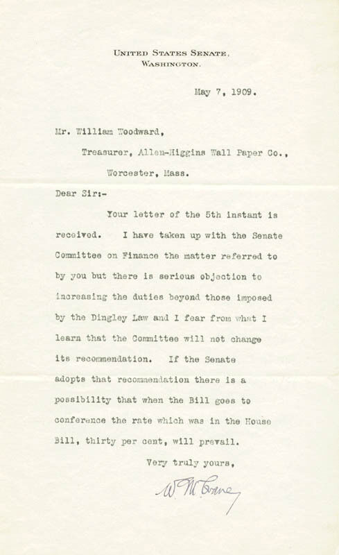 WINTHROP MURRAY CRANE - TYPED LETTER SIGNED 05/07/1909