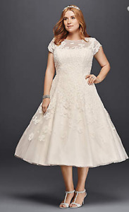 Size 12 Ivory Oleg Cassini tea length wedding dress