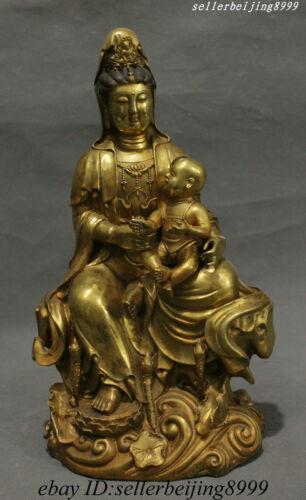 Rare China Buddhism Bronze Gilt Guan Yin Tongzi Kwan-yin Boddhisattva Statue