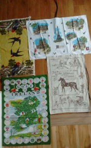 LINEN TEA TOWEL/ MORGAN HORSE/GOLF IRELAND/PARIS/ETC