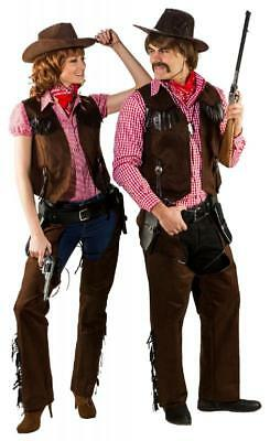 Cowboy Wilder Westen Cowgirl Trapper Chaps Kostüm Mantel Jacke Weste Hemd Kleid
