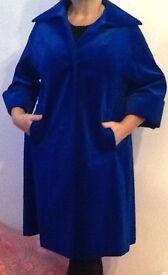 Vintage Electric blue velvet coat pristine size 16-18