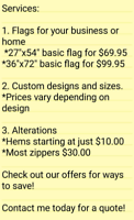 Seamstress/Sewing/Alterations/Flags/Hems/Zippers/Patches/Leather