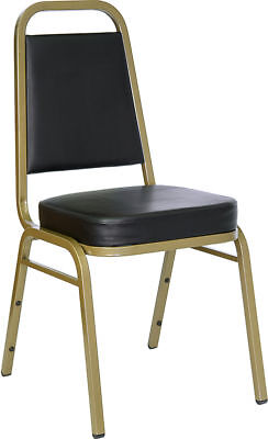 Vinyl Padded Stack Chair - Thickly Padded Black Vinyl Banquet Catering Stack Chair with Gold Frame