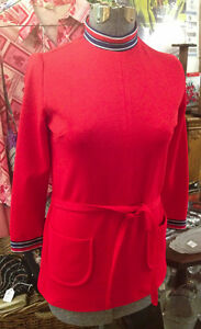 ★ Vintage 1960's Red MINI DRESS Sz 6/8★