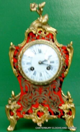 VICTORIAN ANTIQUE FRENCH JAPY FRERES 8 DAY BOULLE FACE BOUDIOR MANTLE CLOCK