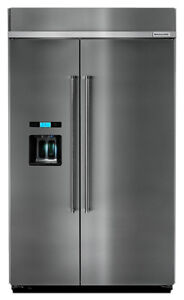 KITCHENAID 48 INCH STAINLESS STEEL BUILT-IN SIDE-BY-SIDE FRIDGE