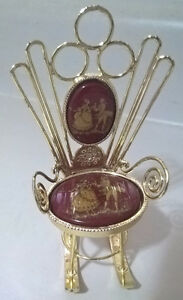 Vintage Limoges Porcelain Courting Couple Burgandy Rocking Chair