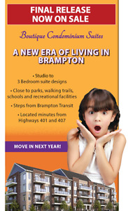 NEW Condos, New Town Homes & Condo Towns in Brampton BUY with 5%