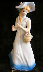 Porcelain figurine: woman with flower bucket