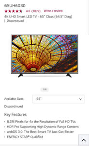 """65"""" UHD Smart LG TV for sale for $850."""