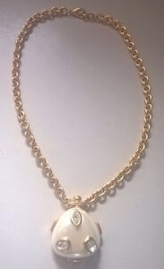 Ivana Trump Gold Tone Chain Link Necklace with Crystal Pendant