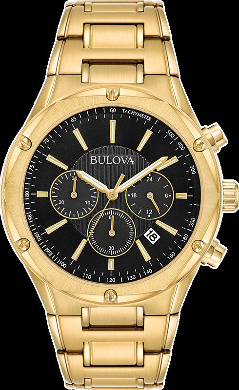 Bulova Men's Quartz Chronograph Black Dial Gold-Tone Bracele