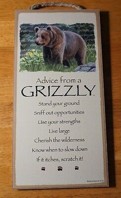 ADVICE FROM A GRIZZLY - LIVE LARGE - Rustic Lodge Wood Cabin Sign Home Decor NEW