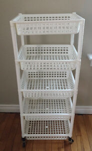 Stacking White Plastic Rolling Storage Shelving Unit