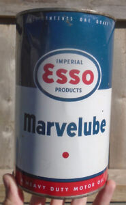 VINTAGE 1960's ESSO MARVELUBE MOTOR OIL IMPERIAL QUART CAN
