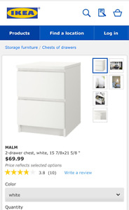 IKEA 2 drawer chest in white