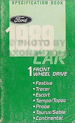 1989 Ford Service Specifications Manual Probe Taurus Escort Tempo Festiva 89 OEM