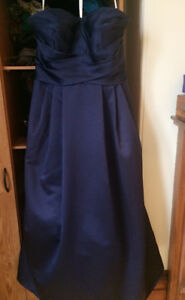 Navy blue strapless bridesmaid or prom gown from David's bridal