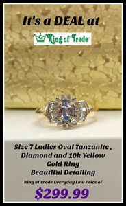 Ladies 10k Tanzanite & Diamond Ring - King of Trade!
