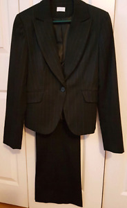 Size 5/6 Women's Suit, black with pinstripes