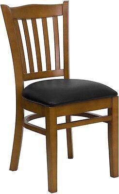 Restaurant Dining Chair Cherry Finish Sturdy Beechwood Frame Black Vinyl Seat