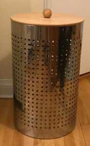 Laundry hamper/basket, metal with wooden lid. $10