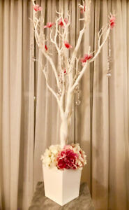 (FOR RENT) White MANZANITA TREES 4ft w/ Silk Flowers and Prisms