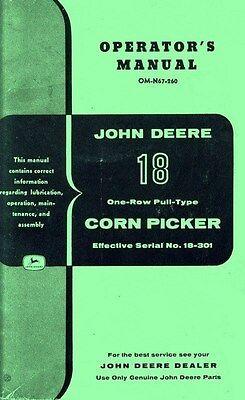 John Deere 18 Corn Picker Sn 18-301up Operators Manual