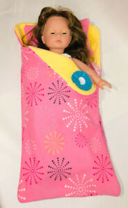 "ADORABLE SLEEPING BAG BEDDING FOR 18"" DOLLS NEW"