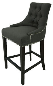 BarStool Counter Stool in Charcoal Linen Fabric Silver Nailhead