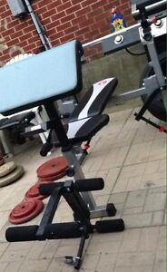 Weight Bench with Metal Weights/Barbell