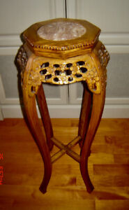 Gorgeous Carved Solid Wood Accent Table/Plant Stand w Marble Top