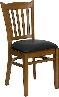 Cherry Wood Finished Vertical Slat Back Restaurant Chair With Black Vinyl Seat